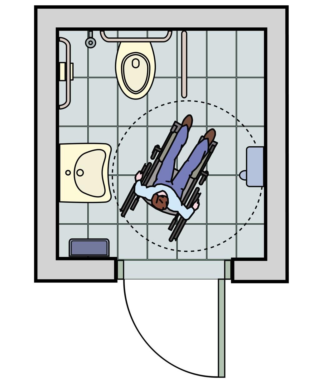Grundriss eines barrierefreien Bades