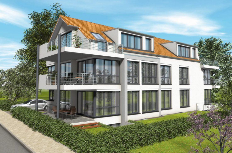 Visualisierung eines 5-Familienhauses mit Erdwärmeheizung (Sole/Wasser-Wärmepumpe). Verantwortlicher Architekt: Karl Eisenbraun