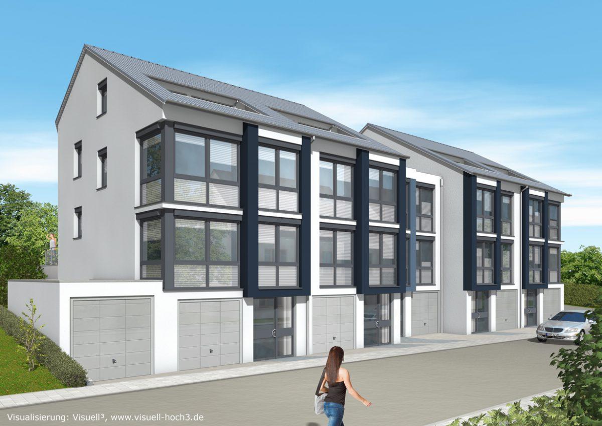 Hausansicht: Fünf Reihenhäuser In Split Level Bauweise