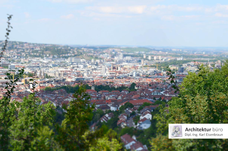 Blick in den Talkessel von Stuttgart