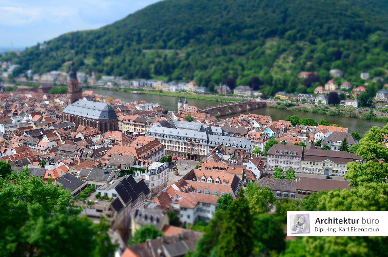 Enge Bebauung in der Stadt Heidelberg