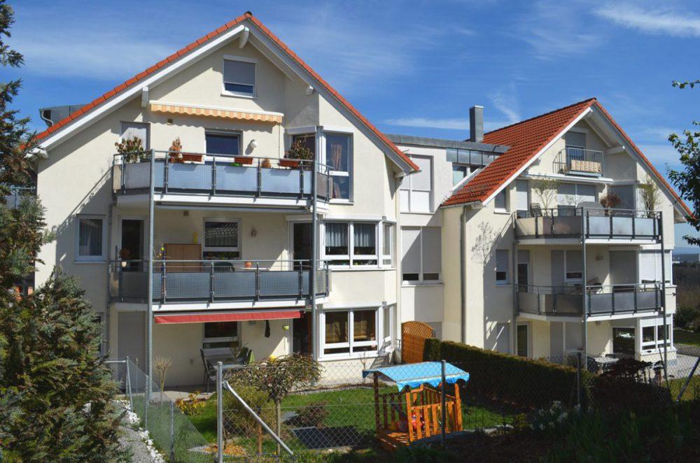Rueckansicht 11-Familienhaus Ostfildern. Verantwortlicher Architekt: Karl Eisenbraun
