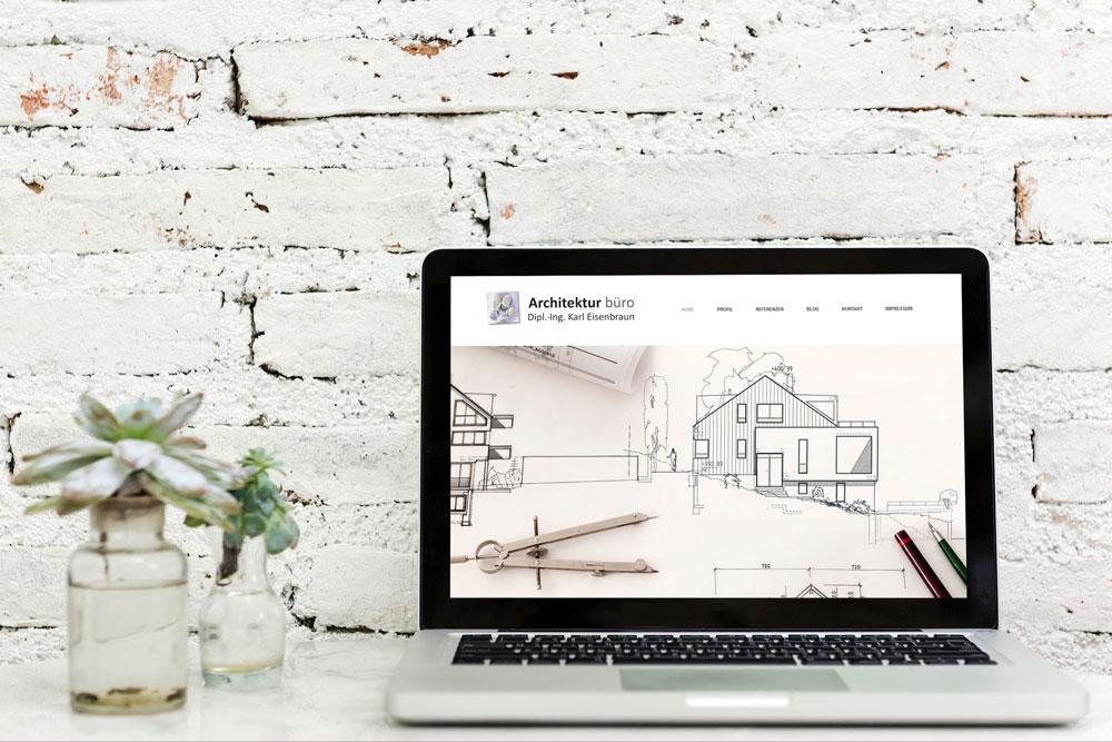 Bild der Website des Architekturbüro Eisenbraun nach Relaunch