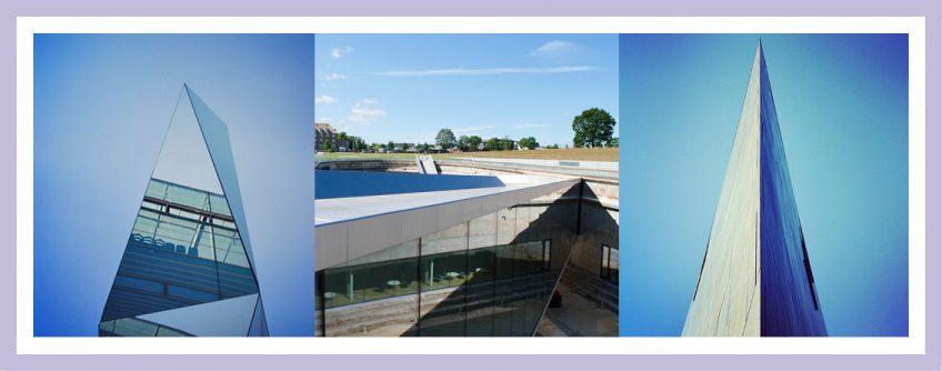 Bild Zeigt Drei Vom Architekturbüro Eisenbraun Auf Instagram Veröffentlichte Fotos: Skulptur Kleiner Schloßplatz, Maritime Museum Helsingör Und Ein Spitz Zulaufende Gebäudeecke In Stuttgart.