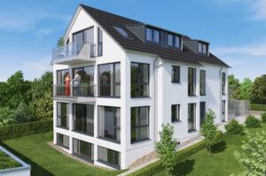 Visualisierung: 4-Familienwohnhaus im KfW 55 Effizienzhausstandard und Luft Wasser Wärmepumpe