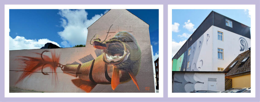 Fassadengestaltung Mit Street Art. Das Titelbild Zeigt Zwei Fassaden Im Dänischen Aalborg