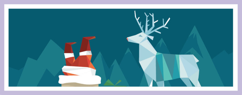 Das Architekturbüro Eisenbraun Wünscht Frohe Weihnachten 2020. Die Grafik Zeigt Den Weihnachtsmann, Der In Den Schornstein Steigt Und Ein Rentier, Das Mit Ihm Auf Dem Verschneiten Hausdach Steht.